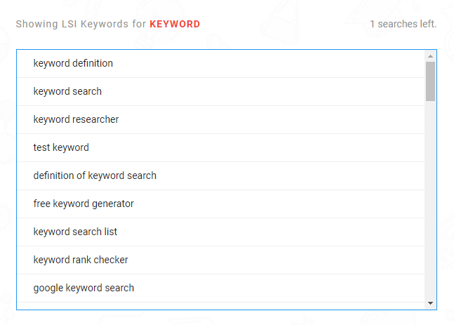 LSI Graph keyword research tool