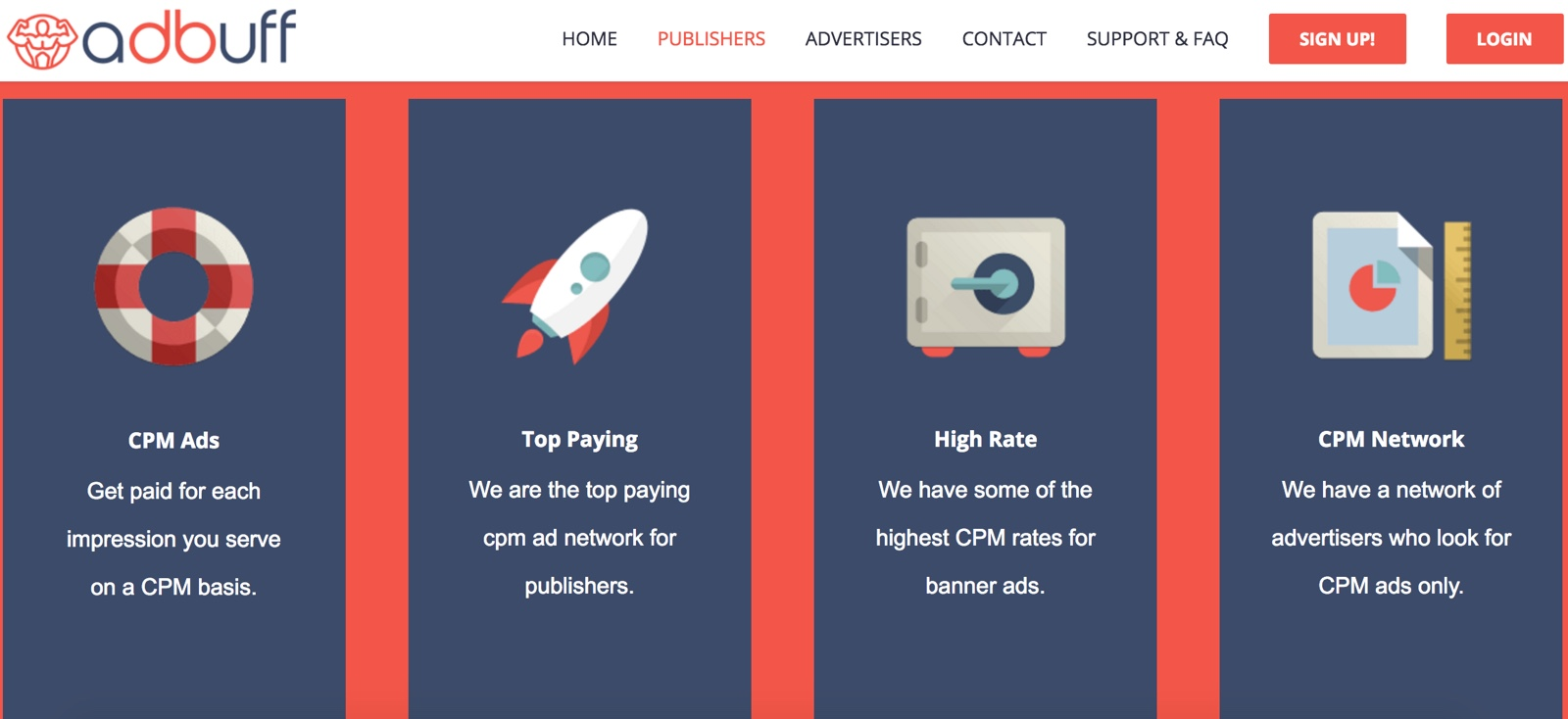 adbuff review cpm ad network for publishers and advertisers
