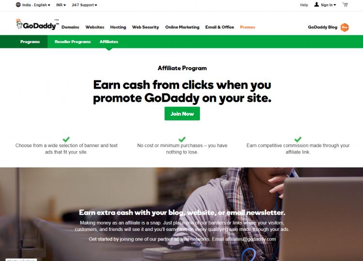 godaddy web hosting affiliate program in india