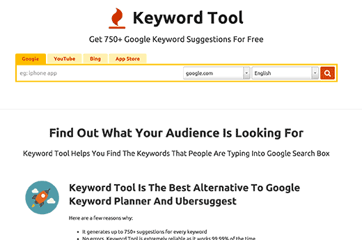 keywordtool.io for keyword research tools for seo