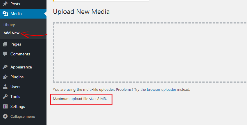 WordPress maximum upload file size