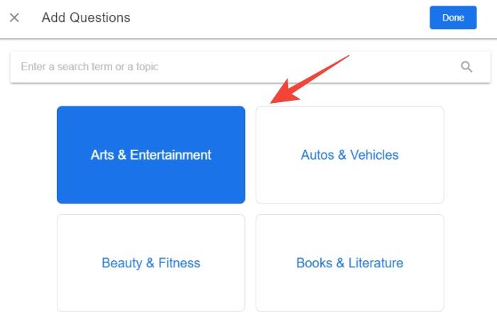 questionhub select topics