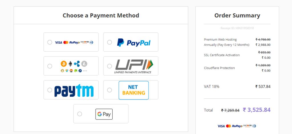 hostinger payment method